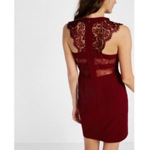 Express Maroon cut out lace dress